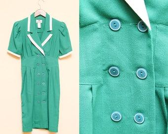Blazer robe Green / / Double boutonnage Dress / / des années 1980 GV Studio blanc collier manches courtes bouffantes Secrétaire hôtesse de l'air Costume taille 4 petit