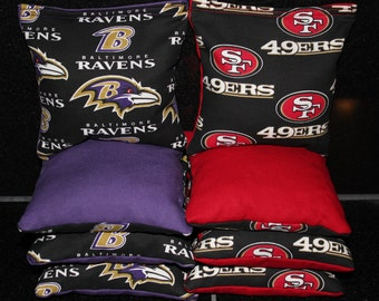 PICK YOUR TEAMS Cornhole Bags Ravens & 49ers 8 Corn Hole Bags Aca Regulation Cornhole Bean Bags Tailgate Party Game