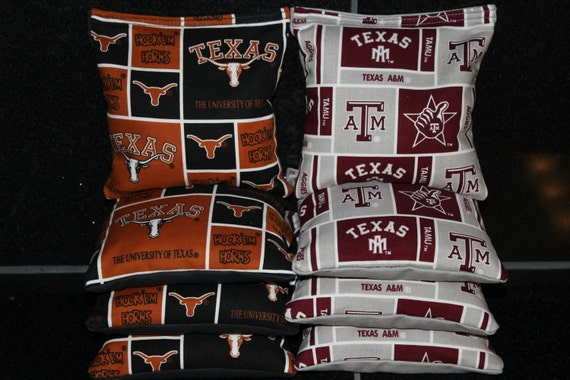 Pleasing University Of Texas Longhorns Texas Am Aggies Cornhole Bean Bags 8 Corn Hole Bags Aca Regulation Tailgate Game Ibusinesslaw Wood Chair Design Ideas Ibusinesslaworg