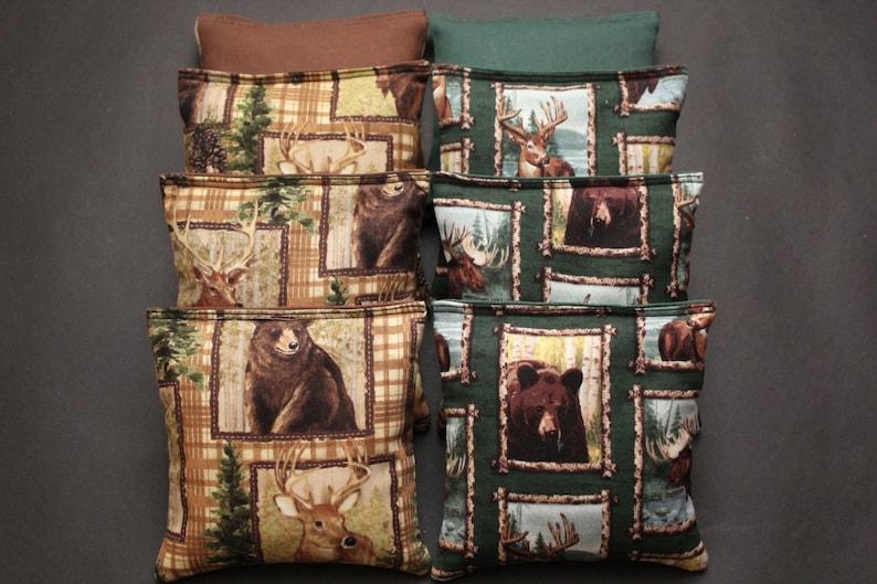 WILDLIFE Cornhole Bean Bags 8 ACA Regulation Corn Hole Deer Hunting Bear Country Bean Bags
