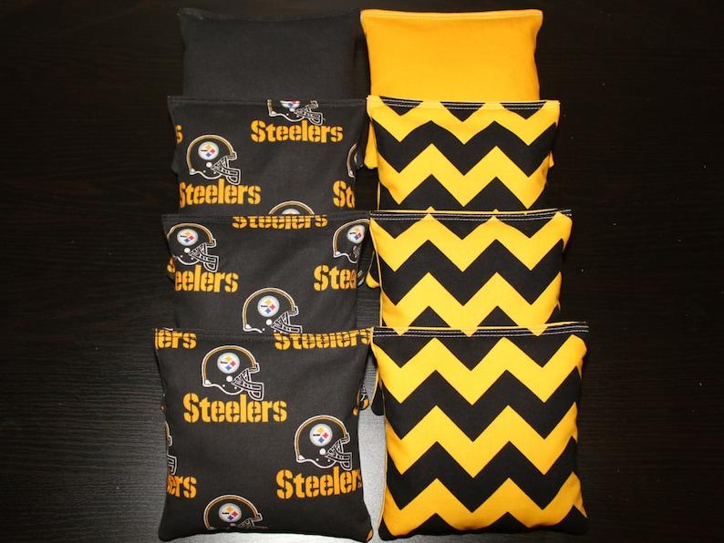Pittsburgh STEELERS /& CHEVRON Black Yellow Cornhole Bags 8 ACA Regulation Game Toss Bean Bags