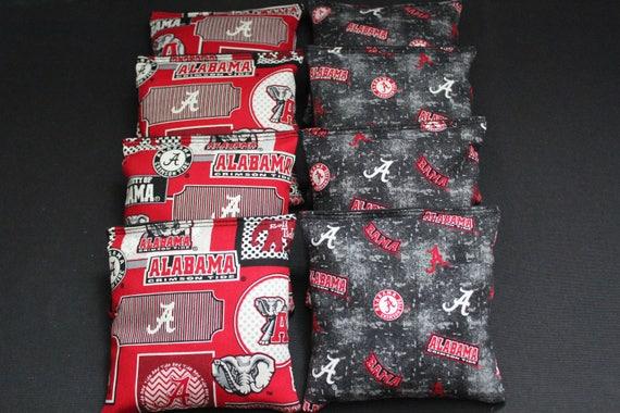 CORNHOLE BEANBAGS made w University of ALABAMA CRIMSON TIDE FABRIC 8 ACA Bags