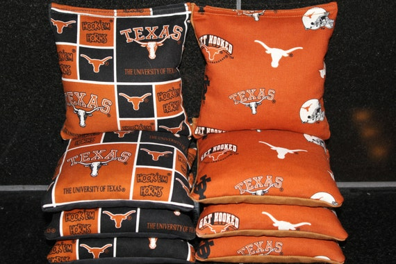 Texas Longhorns Set of 8 Cornhole Bean Bags FREE SHIPPING