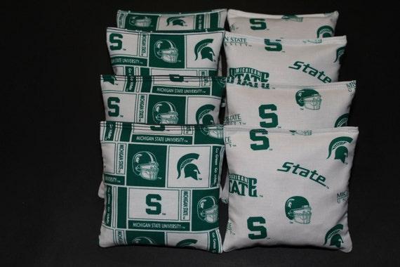 8 All Weather Cornhole Bean Bags made w MICHIGAN STATE University MSU Fabric