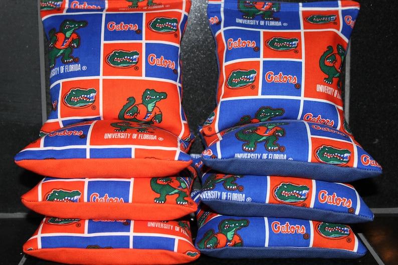 ALL WEATHER 8 CORNHOLE BEAN BAGS made w University of Florida Gators Fabric