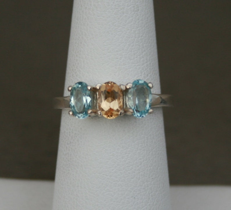 Topaz Ring Precious Topaz and Sky Blue Topaz Three Stone Ring November Birthstone Ring