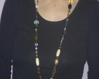 beaded lanyard necklace, handmade ID badge lanyard