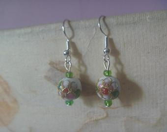floral globe earrings, handmade ecofriendly drop earrings