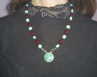 burgundy and turquoise beaded necklace, handmade beaded necklace with pendant