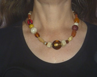 handmade beaded necklace, autumnal colours