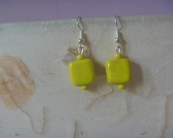 bright yellow dangle earrings, handmade drop earrings