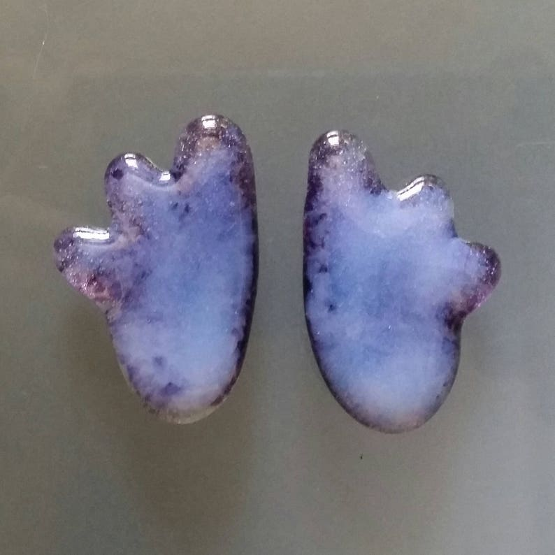 Wings 2 Picasso Style Wing Pair Violet Royal Purple Opaline Original Design Cast Glass Cabochons Matched Two Wing Pair
