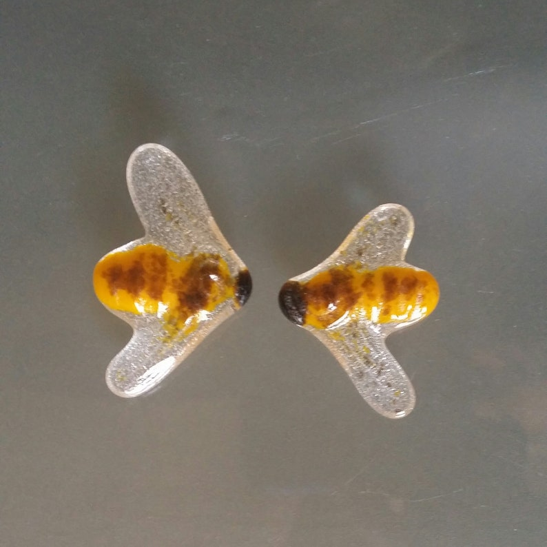 Cabochon 1.75 Bees Pair of 2 Marigold Yellow Rose Brown Opaline Art Glass Bumble Bee Cabochon for Mosaic and Assemblage Save the Bees Art
