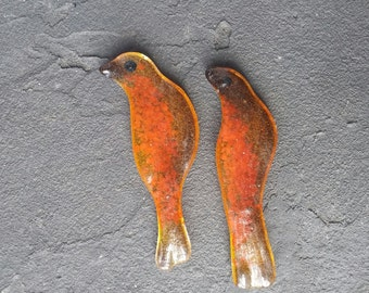 "Cabochon 3.5"" Birds Red Carnelian Orange Amber Fused Glass Sculpted Bird Tile Cabochon LAST ONE!"