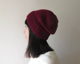 Burgundy Slouchy Beanie, Hand Knit Chunky Slouch Hat, Women Knit Hat, Winter Accessories, Wool Blend, Seamless, Gift for Her