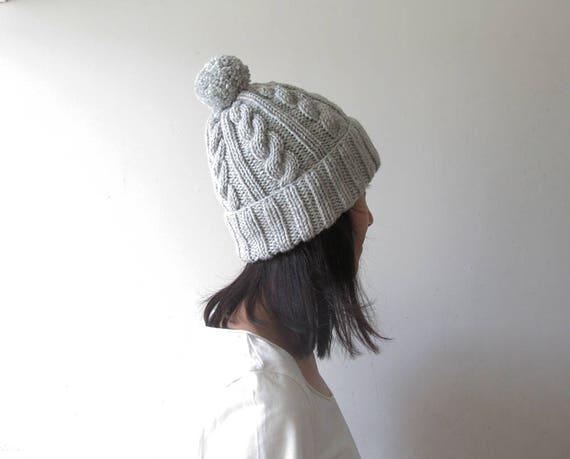 Cable Knit Hat in Light Grey Melange Gray Womens Pom Pom hat  b921137b4cf