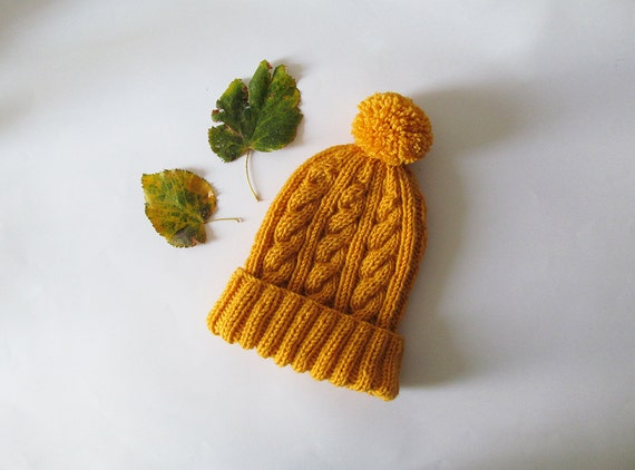 b22b7f52cbe Cable Knit Hat in Yellow Hand Knit Beanie with Folded Brim