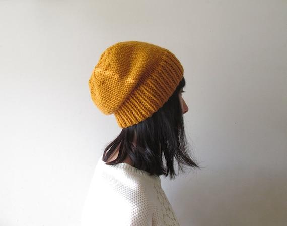 bonnet femme jaune moutarde