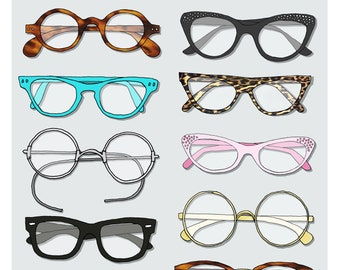 A3 vintage glasses print
