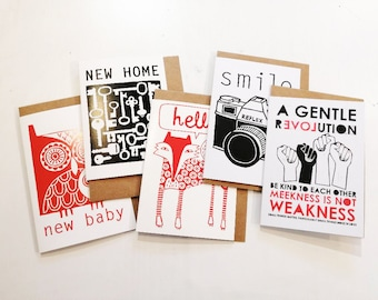 5 GREETINGS CARDS - Mixed designs and mixed occasions