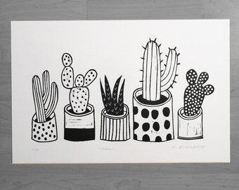Cactus lino print in black and white