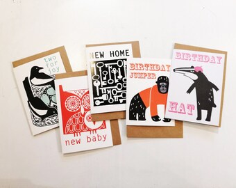 5 GREETINGS CARDS - Mixed designs and mixed occasions [5A]