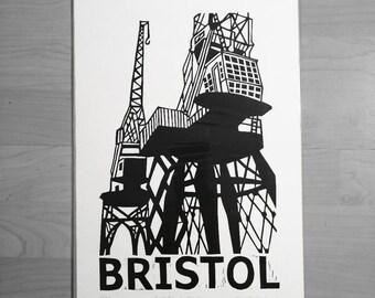 Bristol Harbourside Cranes lino print