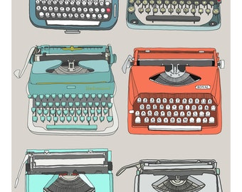 A3 Retro typewriters collection print - The Type Set grey, red, turquoise