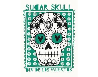A3 Sugar Skull - Day of the dead / Dia de los muertos archival-quality digital print in jade green