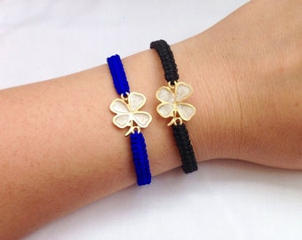 Wish Bracelets, Mother of Pearl Shamrock Bracelet, Clover Bracelet, Black Macrame Bracelet, Four Leaf Charm Bracelet, Shamrock Bracelet,