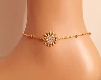 Gold Plated Sun Charm Anklet, Ankle Bracelet, Gold Bracelets, Summer Jewelry Sun Inspired Bracelet, Christmas Gift, Birthday Gifts, Gift for