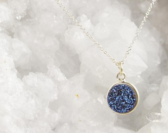 Shimmering Sapphire Druzy Stone • Sterling Silver Necklace
