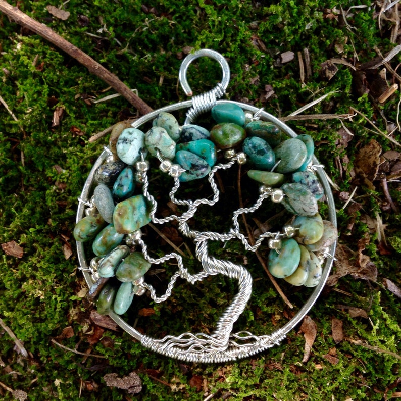 Birthday Gift For Her December Birthstone Blue /& Green Stone Necklace Turquoise Tree of Life Pendant