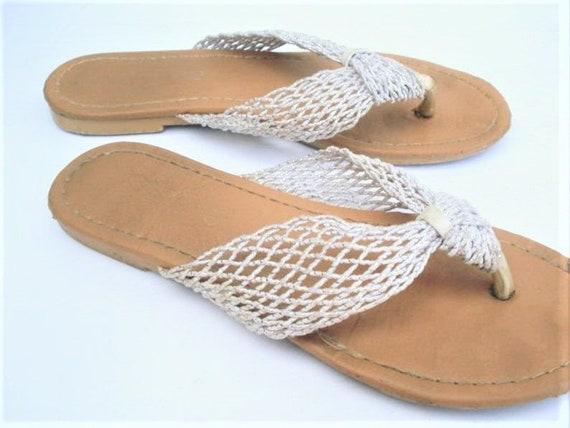 Ladies Sandals, White Mesh Sandals Summer Sandals, Beach Shoes Retro Sandals Flip Flops