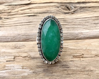 Green Agate Stone Ring - Size 8.5