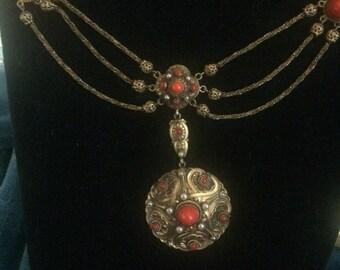 Antique Hungarian festoon ornate necklace