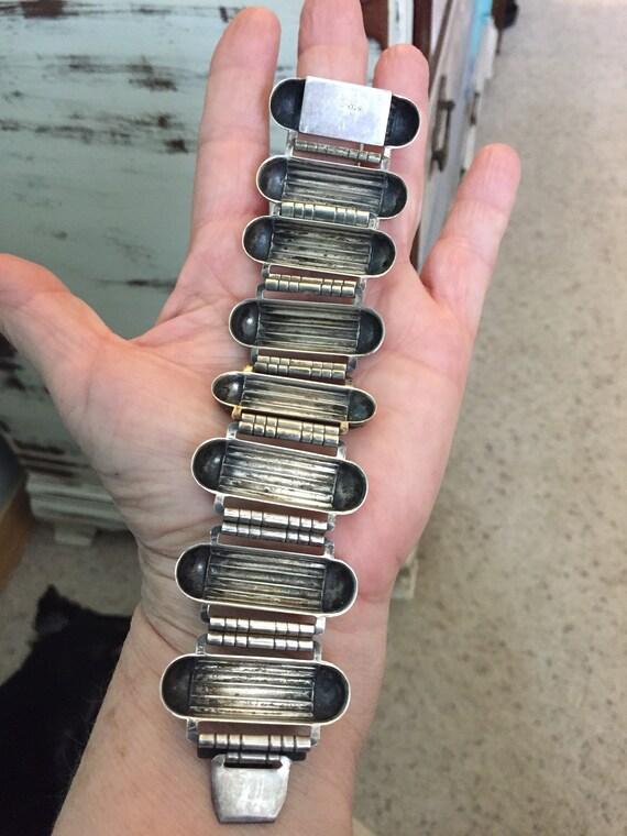Industrial atomic sterling geometric  link bracel… - image 3