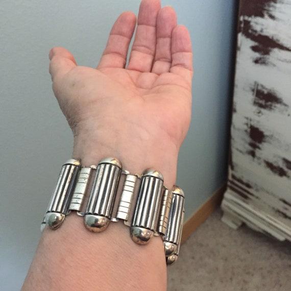 Industrial atomic sterling geometric  link bracel… - image 2