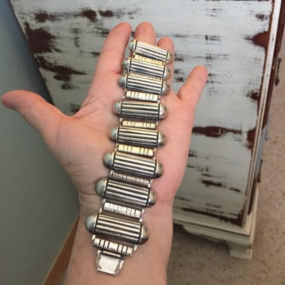 Industrial atomic sterling geometric  link bracel… - image 6