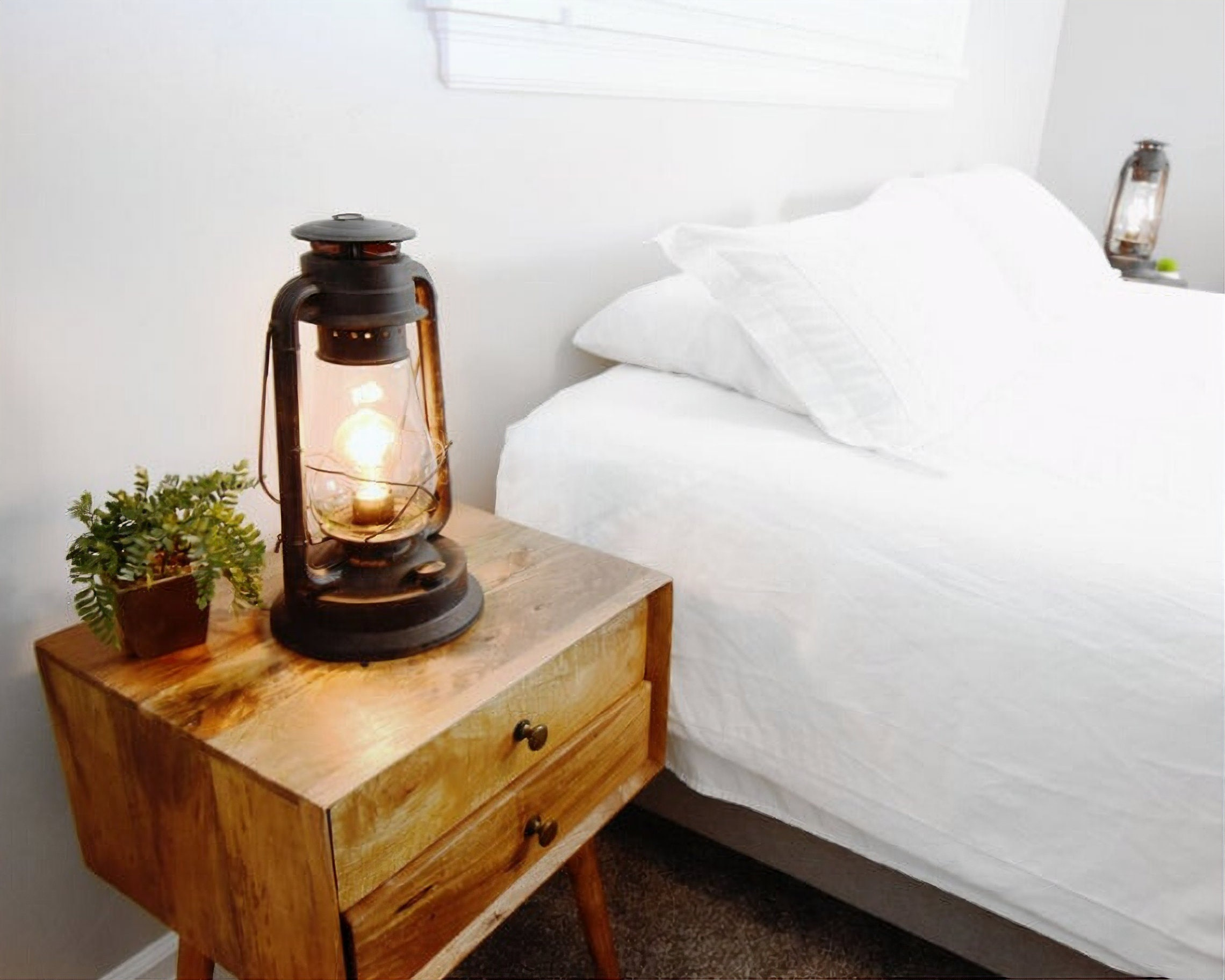 """Dimmable Electric Table Lantern Lamp- Large- Rustic Rust Finish 15"""" Tall"""