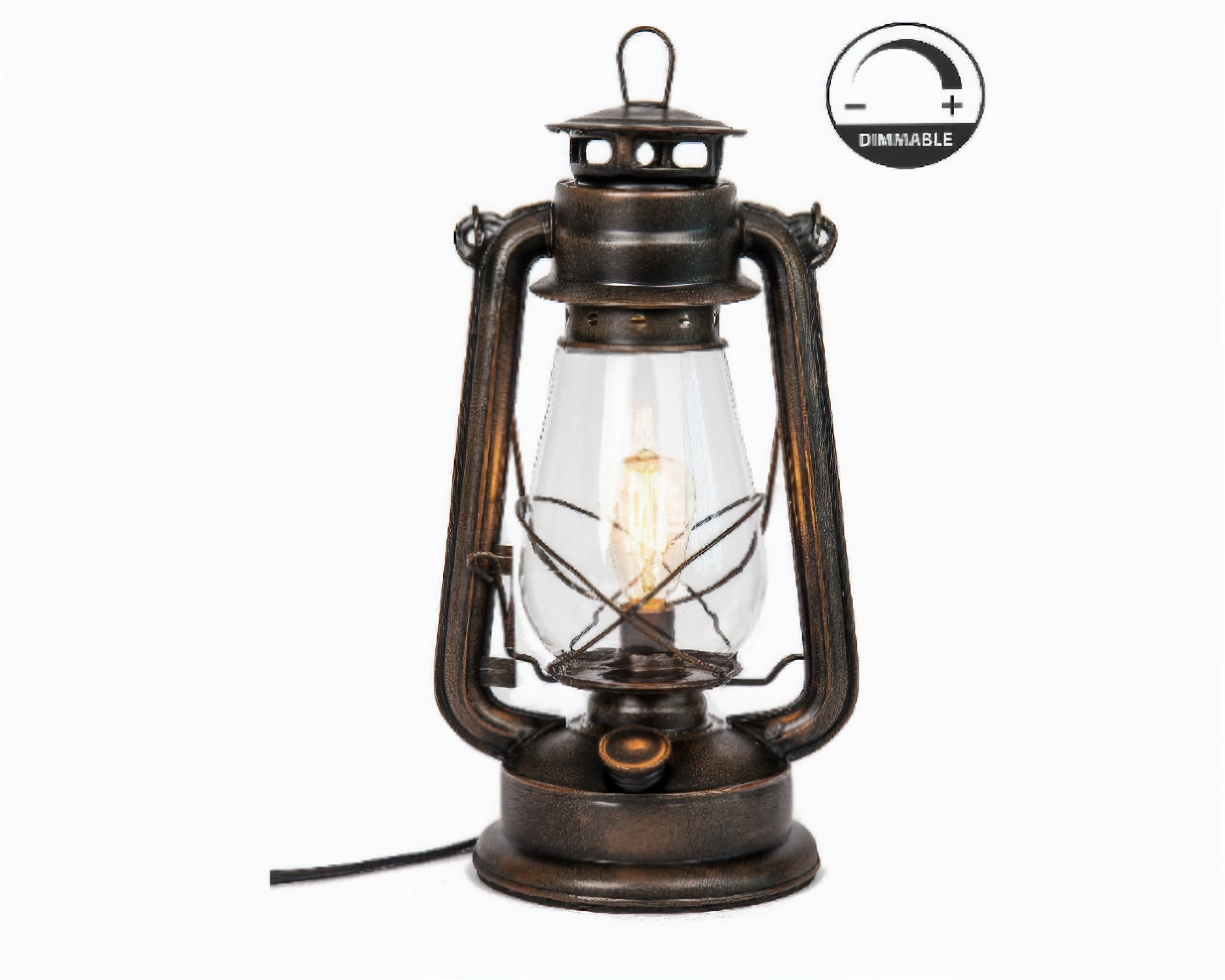Electric Lantern Table Lamp with variable dimming controller Rust patina hand finish by Muskoka Lifestyle Products (Edison Bulb Included)