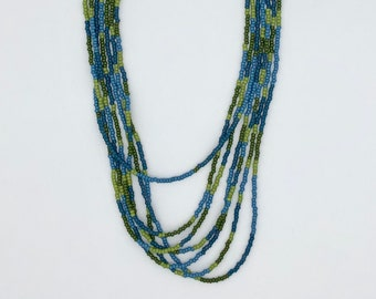 Blue and Green Beaded Necklace, Multi Strand Beaded Necklace