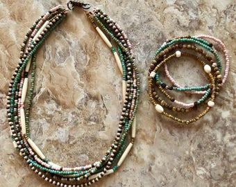 Multi Strand Necklace and Bracelet Set