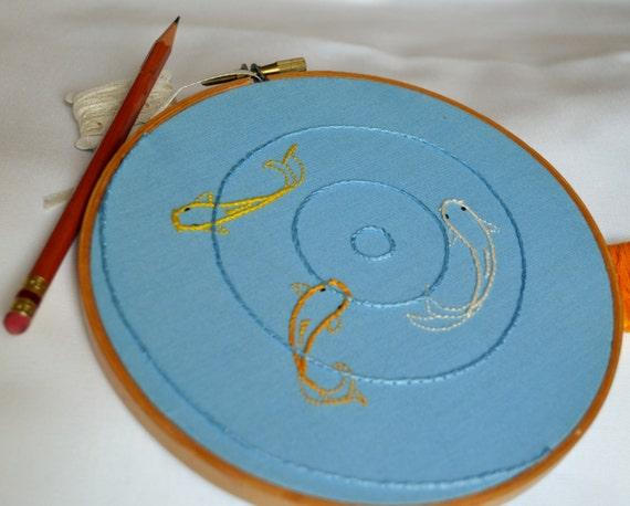 Embroidered Hoop Art Fish Decoration Rippled Koi Pond