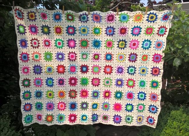Häkeln Sie Decke bunten/aus weißen Decke Häkeln Sie Oma | Etsy