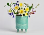 NEW -Small ultramarine turquoise tripod planter pot with face