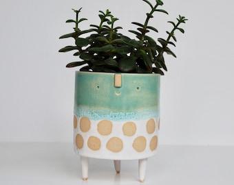 Medium tripod planter pot // Turquoise & white spot