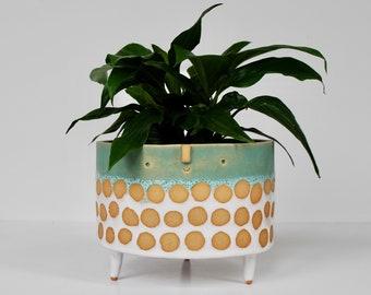 Extra large tripod planter pot // Turquoise & white spot