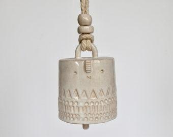 Ceramic hanging chime bell // white