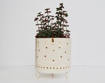 Extra Large face tripod planter pot // white & gold dots